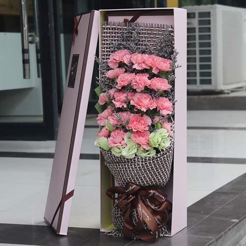 19支粉康乃馨盒装