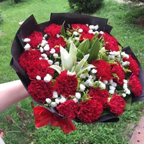24支红康乃馨+两支白百合混搭花束