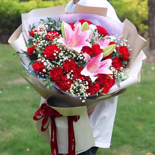 12红康乃馨+两支粉百合混搭花束