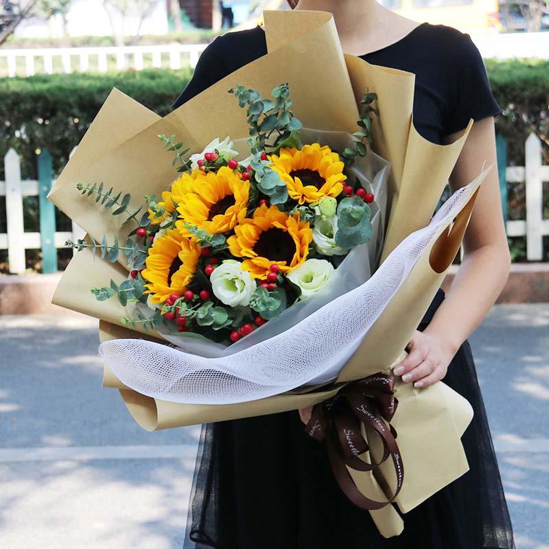 向日葵桔梗混搭花束